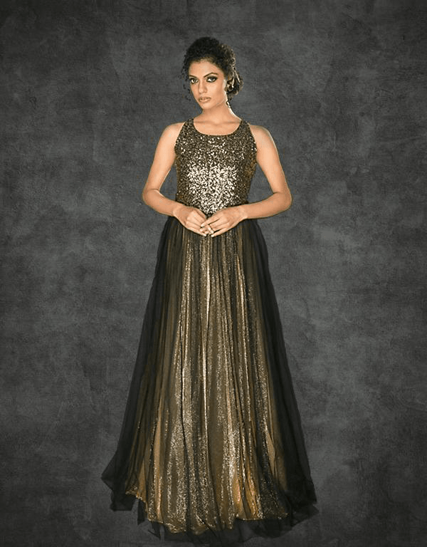 blk gold gown